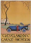 Vintage car advertisment poster - Cleveland six